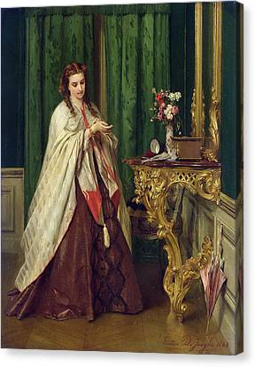 Woman At Her Toilet Canvas Print by Gustave Leonard de Jonghe