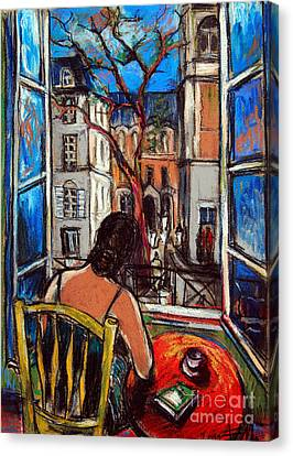 Woman At Window Canvas Print by Mona Edulesco