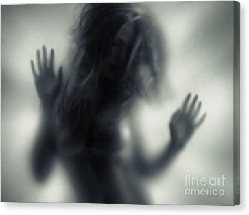 Woman Blurred Silhouette Behind Glass Canvas Print by Oleksiy Maksymenko