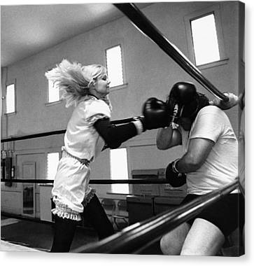 Woman Boxer Canvas Print by Underwood Archives