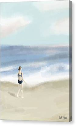 Woman By The Sea Canvas Print by Beverly Brown Prints