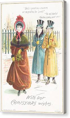 Woman Carrying Bunch Of Mistletoe Canvas Print by English School