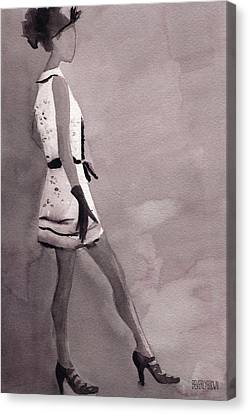Woman In A Black And White Mini Dress Fashion Illustration Art Print Canvas Print by Beverly Brown Prints