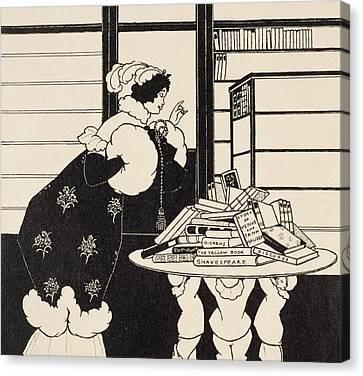 Woman In A Bookshop Canvas Print by Aubrey Beardsley