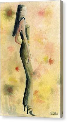 Woman In A Green Jumpsuit Fashion Illustration Art Print Canvas Print by Beverly Brown Prints