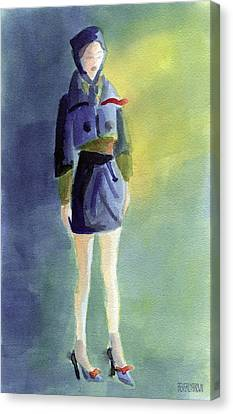 Woman In A Pillbox Hat Fashion Illustration Art Print Canvas Print by Beverly Brown Prints