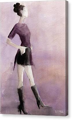 Woman In A Plum Colored Shirt Fashion Illustration Art Print Canvas Print by Beverly Brown