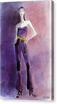 Woman In A Purple Jumpsuit Fashion Illustration Art Print Canvas Print by Beverly Brown Prints