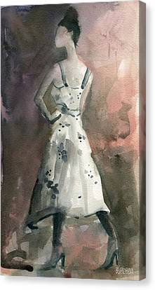 Woman In A White Dotted Dress Fashion Illustration Art Print Canvas Print by Beverly Brown Prints