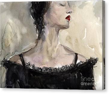 Woman In Black Watercolor Portrait Canvas Print by Svetlana Novikova