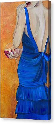 Woman In Blue Canvas Print by Debi Starr