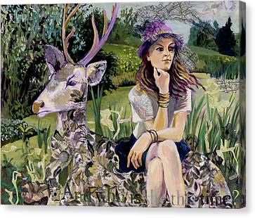 Woman In Hat Dreams With Stag Canvas Print by Tilly Strauss