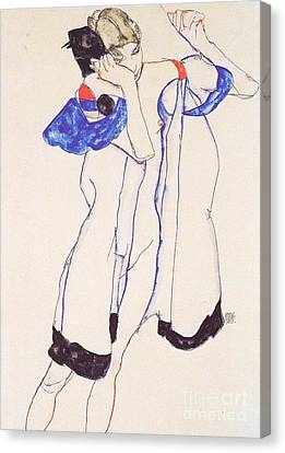 Woman In Housecoat Canvas Print by Pg Reproductions
