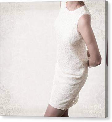 Woman In Lace Dress Canvas Print by Edward Fielding