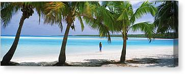 Woman In Sarong On The Beach, One Foot Canvas Print by Panoramic Images