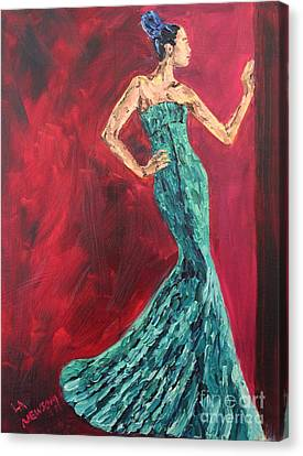 Woman In The Green Gown Canvas Print by Lee Ann Newsom