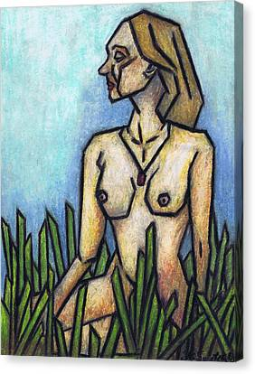 Woman In The Meadow Canvas Print by Kamil Swiatek