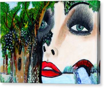 Woman In Trees Canvas Print by Suzanne Thomas