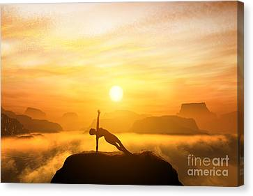 Woman Meditating In Mountains Canvas Print by Michal Bednarek