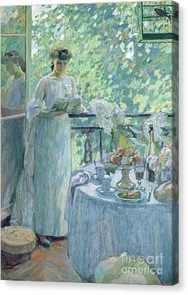 Woman On A Balcony  Canvas Print by Henri Ottmann