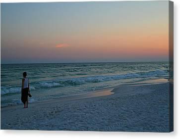 Woman On Beach At Dusk Canvas Print by Karen Adams