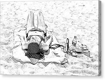 Woman On Beach Canvas Print by Les Palenik