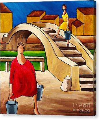 Woman On Bridge Canvas Print by William Cain