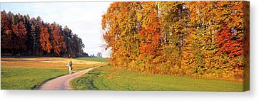Woman On Horse, Cantone Zug, Switzerland Canvas Print by Panoramic Images