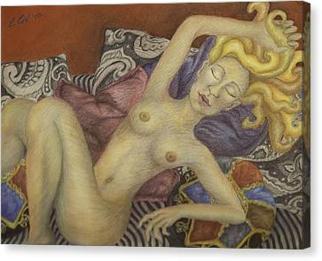 Woman On My Couch Canvas Print by Claudia Cox