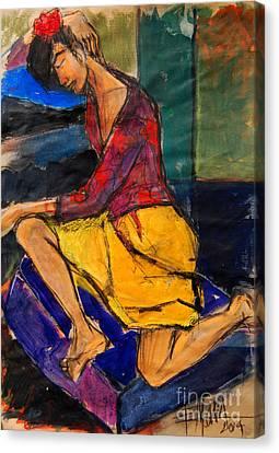 Woman On Purple Pillow - Pia #3 - Figure Series Canvas Print by Mona Edulesco