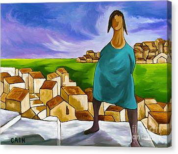 Woman On Village Steps Canvas Print by William Cain