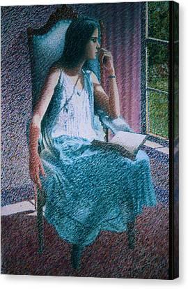 Woman Reading Canvas Print by Herschel Pollard