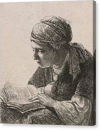 Woman Reading Canvas Print by Rembrandt