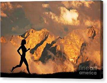 Woman Running Jogging In The Mountains Canvas Print by Michal Bednarek