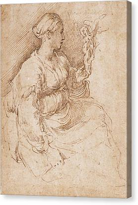 Woman Seated Holding A Statuette Of Victory, C.1524 Pen & Ink On Paper Canvas Print by Parmigianino