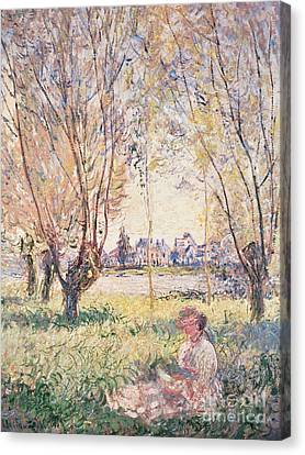 Woman Seated Under The Willows Canvas Print by Claude Monet