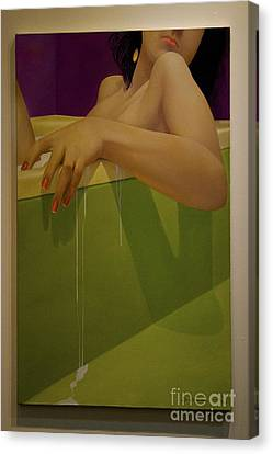 Woman Soaking In A Bathtub Canvas Print by Al Bourassa