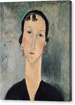 Woman With Earrings Canvas Print by Amedeo Modigliani