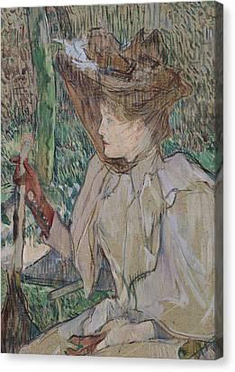 Woman With Gloves Canvas Print by Henri de Toulouse-Lautrec
