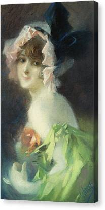 Woman With Gloves Canvas Print by Jules Cheret