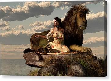 Woman With Lion Canvas Print by Daniel Eskridge