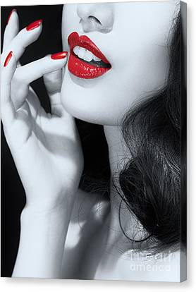Woman With Red Lipstick Closeup Of Sensual Mouth Black And White Canvas Print by Oleksiy Maksymenko