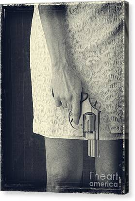 Woman With Revolver Canvas Print by Edward Fielding