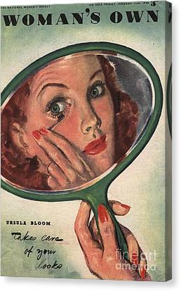 WomanÕs Own 1944 1940s Uk Make-up Canvas Print by The Advertising Archives
