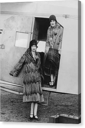 Women Airline Passengers Canvas Print by Underwood Archives
