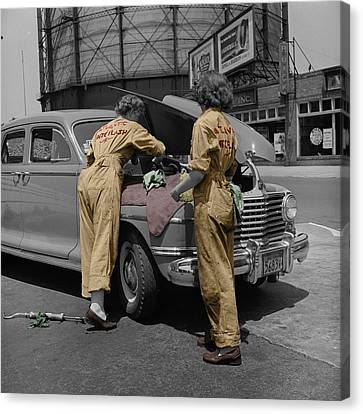 Women Auto Mechanics Canvas Print by Andrew Fare