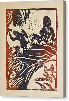 Women I A La Gauguin Canvas Print by Christiane Schulze Art And Photography
