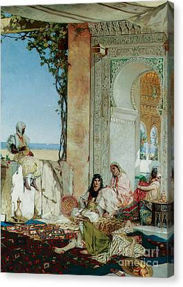 Women Of A Harem In Morocco Canvas Print by Jean Joseph Benjamin Constant
