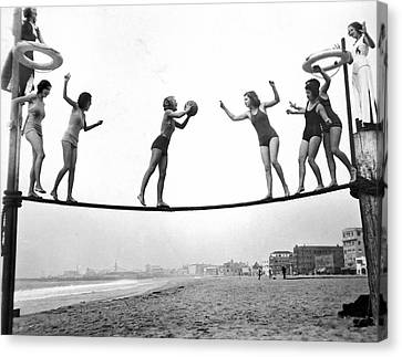 Women Play Beach Basketball Canvas Print by Underwood Archives