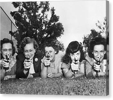 Women Take Weapons Training Canvas Print by Underwood Archives